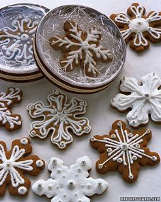 "Gingerbread snowflakes as favors. These would be cute to put in the ""midnight snack"" to-go box with hot chocolate"