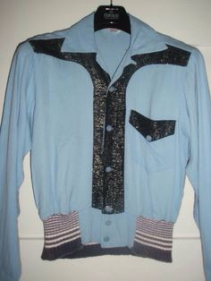 1950s 2 tone Shirt - Jacket , baby blue and black lurex , CAMPUS