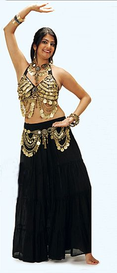Belly Dance Bra ~ Tribal Coin Bra with Mirror Medallion - Artemis Imports Belly Dance Store