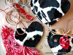cowhide heart ornaments:)