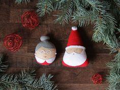 Santa Claus ornament Mrs Claus ornament Felt by FeltBabyCorner