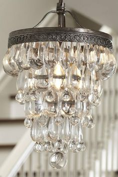 Pottery Barn Clarissa Glass Drop Small Chandelier Free Shipping | eBay