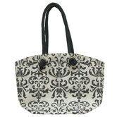Black & Cream Damask Jute Handbag