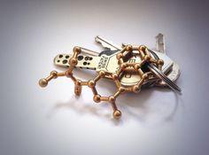 LSD Molecule Necklace Keychain 3d printed LSD molecule in Raw Brass