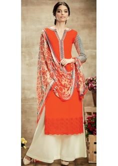 6f054ebcf6d1 Party Wear Coral Red   Cream Palazzo Suit - 102