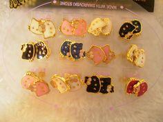 gold hello kitty jewelry Gold 18k GF Earrings Pink Enamel Teddy