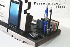 Keep your desk organized with this stylish wood station! This Wood Docking Station is created to keep your several things at one place: cell phone, wallet, watch, keys, jewelry, accessories, and other small items. Attractive, unique and useful, this Desk organizer is a functional gift