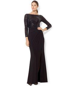Lauren Ralph Lauren Long-Sleeve Sequined Gown  | macys.com