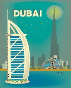 Vertical Poster Dubai Skyline  Original by loosepetals on Etsy