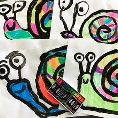 Good for spirals unit Kindergarten snails using neon oil pastels ❤️🧡💛💚💙💜🐌. Kindergarten Art Lessons, Art Lessons Elementary, Spring Art Projects, School Art Projects, Oil Pastel Art, Oil Pastels, Kindergarden Art, Snail Art, Art Lesson Plans