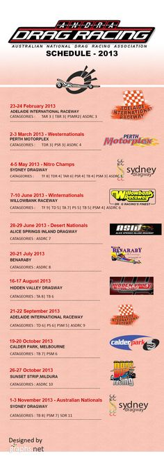 Andra Drag Racing 2013 Schedues #Andra #Drag #Racing #2013 #Schedules #Sports #Infographics #adrp #andradragracing