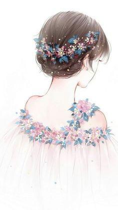 壁纸,文艺,少女,背影,小碎花,小清新,可爱