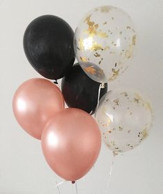 Rose Gold Black Gold Confetti Latex Balloons Rose Gold and Black Party Decor Rose Gold Engagement Party Black Rose Gold Bachelorette Wedding