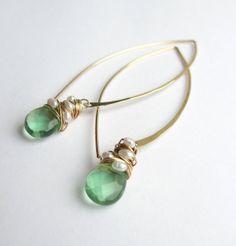 Pearl Woven Flourite Long Hoops от SarahHickeyJewellery на Etsy, $79.00