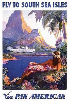 travel poster,vintage travel,poster art,tahiti,bora bora,south seas,pan american airlines,vintage travel poster,paul george lawler