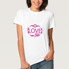 Adorable Pink LOVE you with quatrefoil and flower T Shirts by #PLdesign #ValentinesDay #ValentinesGift
