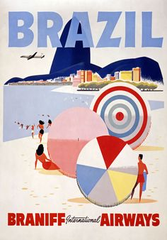 Vintage Brazil Braniff Airways Travel Tourism Poster