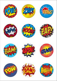 12 Precut Lge 50mm Superhero Retro Pow Zap Comic Edible Wafer Paper Cake Toppers | eBay