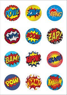 12 Precut Lge 50mm Superhero Retro Pow Zap Comic Edible Wafer Paper Cake Toppers | eBay