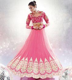 Pink floor length Indian designer anarkali frock in georgette Bridal Anarkali Suits, Anarkali Frock, Bridal Lehenga, Bollywood Outfits, Bollywood Fashion, Indian Wedding Wear, Indian Wear, Lehenga Style, Designer Anarkali