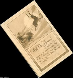 C005 SEPIA SANTA CLAUS SKY SLEIGH REINDEER OLD WORLD GOOD HEALTH 1912 Postcard #Christmas
