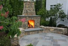 Natural Stone Outdoor Fireplaces Pictures | Patio with outdoor fireplace. Natural stone ... | Patio Designs and I ...