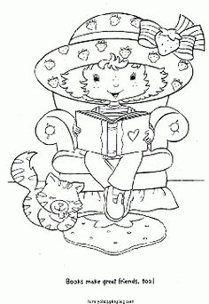 Strawberry Shortcake And Cat Coloring Pages