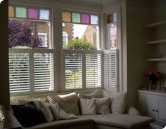 Shutterly fabulous - Putney window shutters on box bay Pallet Shutters, Window Shutters, House Windows, Bay Windows, Grey Lounge, Moldings And Trim, Front Rooms, Window Coverings, Window Treatments