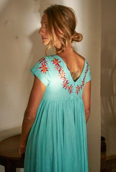 bfb4ef8e702 Machan Turquoise BLue Embroidered Long Linen Dress. Fanm Mon. AMA Dress