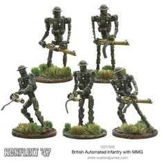 British Automated Infantry with MMG Model Supplies, Weapon Concept Art, Force Of Evil, Dieselpunk, Plant Hanger, Wwii, Fountain, Action Figures, British