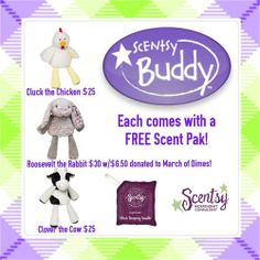Spring/Summer 2014 Scentsy Buddies: Cluck the Chicken, Roosevelt the Rabbit and Clover the Cow. Each comes with a FREE Scent Pak! Http://Audreyp.Scentsy.us
