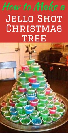 How to make a jello shot Christmas tree - a Christmas tree made out of jello shots is the perfect drinkable (slurpable?) centerpiece for any Christmas party!  They're easy to make...click through for directions on how to assemble a Christmas tree made with jello shots.