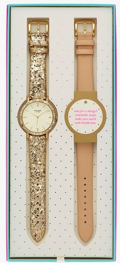 Love this glittery gold kate spade watch set http://rstyle.me/n/tcuiinyg6