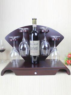 Shiny Fan Shape Wood Stylish Wine Rack - Milanoo.com