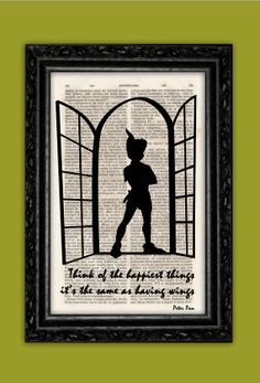 Peter Pan Silhouette Happiest Things Art Print - Disney Poster Book Art Nursery Dorm Room Print Gift Wall Decor Poster Dictionary Print on Etsy, $9.73
