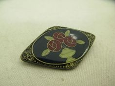 Catherine-Popesco-France-Art-Deco-Pin-Brooch-Rhinestone-Enamel-Vintage