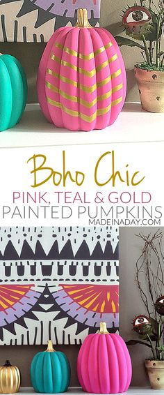Fun Boho Chic Painted Pumpkins