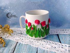 Чаша с декора, ястия с лалета, полимерна глина инкрустация, моделиране лалета, видео урок, учебен материал