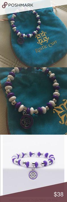 Rustic Cuff Courtney Gameday - Purple White Silver Rustic Cuff Courtney Gameday - Purple White Silver Rustic Cuff Jewelry Bracelets