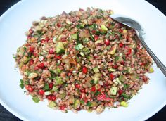This is another recipe from Rick Stein's latest book From Venice to Istanbul. The salad originates from Turkey and is called Kisir. I recently served it as part of a Middle eastern dinner whi… Corn Recipes, Brunch Recipes, Whole Food Recipes, Salad Recipes, Cooking Recipes, Pearl Barley Salad, Turkish Salad, Rick Stein, Healthy Meals