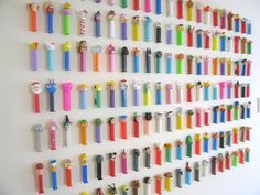 What a great way to display my massive Pez collection!  Need to figure out how to do this.