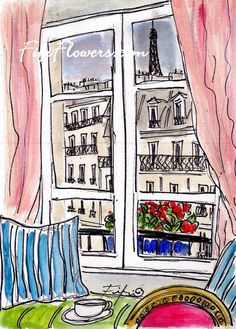 #Paris Morning Window by Fifi Flowers