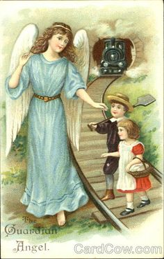 Holy cards from my Catholic upbringing usually depicted the Guardian Angel protecting children against grave dangers -  being  lost in the woods, or crossing rickety bridges,  falling into water, or plummeting off cliffs, but this is the first one I have ever seen where the Angel is leading the children safely over the railroad tracks as a train barrels down on them!