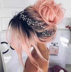 Pink hair with dark roots! Love this!
