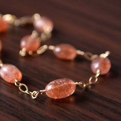 NEW Sunstone Bracelet Gold or Sterling Silver by livjewellery