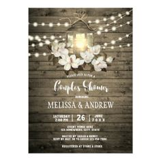 Rustic Wood Floral Lantern Lights Couple's Shower Card - rustic country gifts style ideas diy