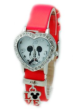 Women Heart Shape Disney Mickey Mouse Red Strap Watch | Your #1 Source for Watches and Accessories
