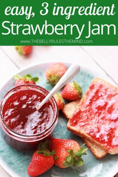 3 Ingredient Instant Pot Strawberry Jam - the easiest strawberry jam recipe ever! No pectin, no cornstarch, no artificial preservative, no added color. So much better than the store-bought. Awesome isn't it? What are you waiting for, let's get started. Video Recipe. Best Vegetarian Recipes, Vegetarian Cooking, Delicious Vegan Recipes, Healthy Recipes, Strawberry Jam Recipe, Jam Recipes, 3 Ingredients, Food Videos, Instant Pot