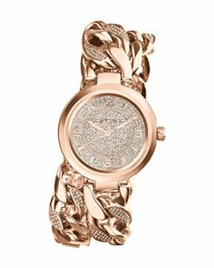 i am in love with this watch!!!! <3 Michael Kors Mid-Size Rose Golden Ellie Three-Hand Glitz Watch.