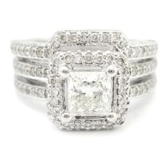 Princess Cut Antique Style Double Row Diamond Engagement Ring & Band Wedding Set P46S